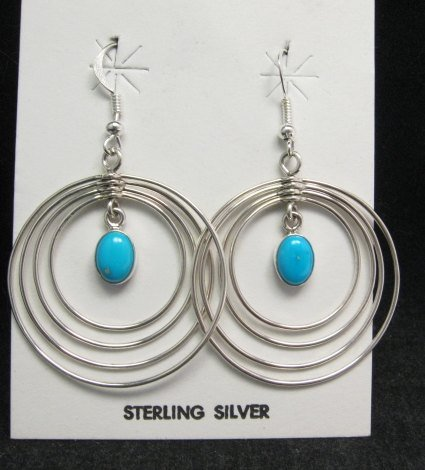 Image 0 of Big Native American Turquoise Sterling Silver Hoop Earrings