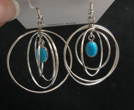 Image 1 of Big Native American Turquoise Sterling Silver Hoop Earrings