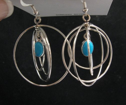 Image 2 of Big Native American Turquoise Sterling Silver Hoop Earrings