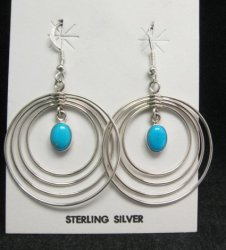 Big Native American Zuni Turquoise Sterling Silver Hoop Earrings