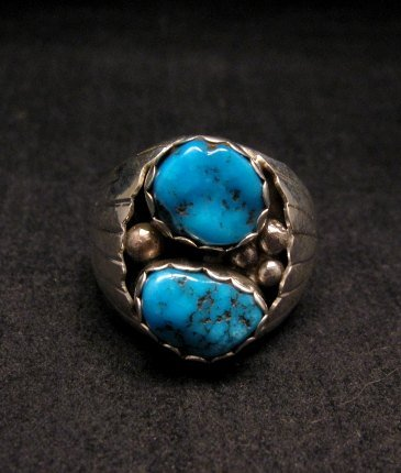 Image 0 of 2-Stone Navajo Turquoise Sterling Silver Mens Ring sz12, Marlene Martinez