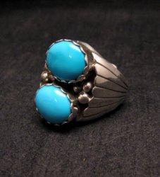 Navajo Native American Double Turquoise Silver Ring sz10, Marlene Martinez