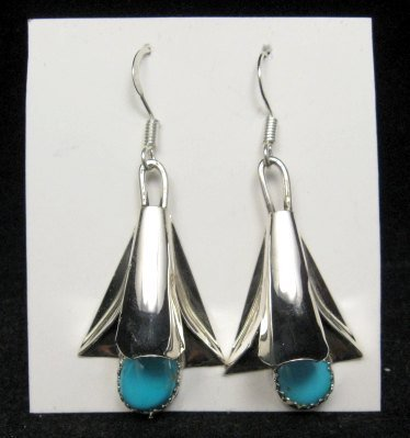 Image 0 of Navajo Turquoise Sterling Silver Squash Blossom Earrings, Louise Yazzie