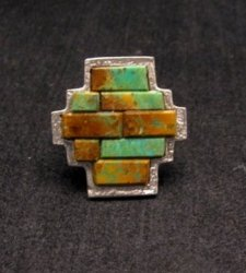 Hopi Native American 4-Direction Turquoise Ring sz8, Bennard Dallasvuyaoma