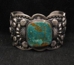 A++ Navajo American Indian Pilot Mountain Turquoise Silver Bracelet, Gilbert Tom