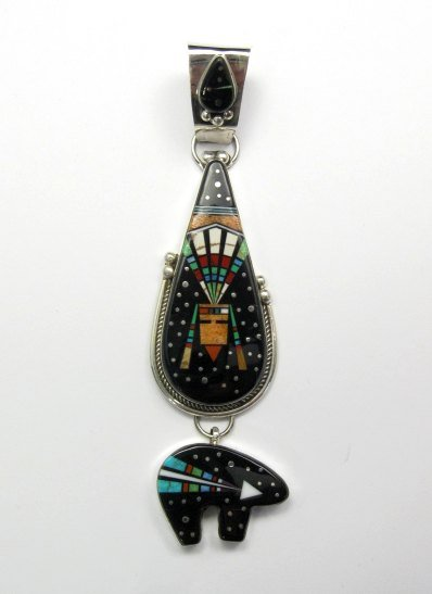 Image 0 of 3-pc Native American Navajo Inlaid Starry Nite Cosmic Bear Pendant, Ray Jack