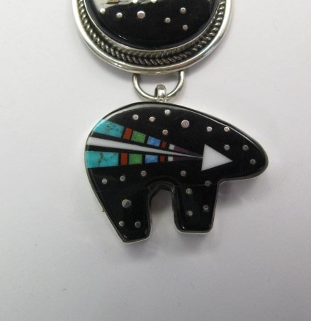 Image 1 of 3-pc Native American Navajo Inlaid Starry Nite Cosmic Bear Pendant, Ray Jack