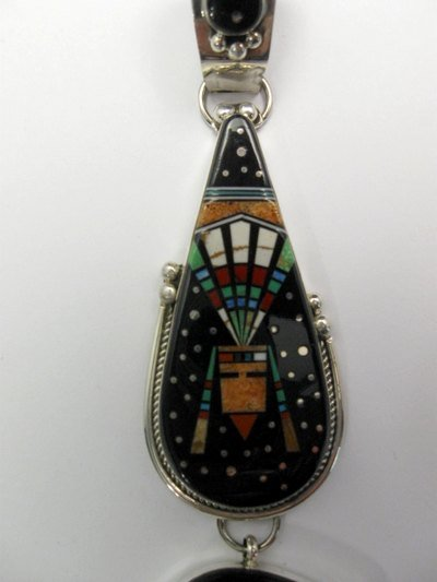 Image 2 of 3-pc Native American Navajo Inlaid Starry Nite Cosmic Bear Pendant, Ray Jack