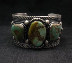 A+ Native American Royston Turquoise Silver Cuff Bracelet, Navajo Gilbert Tom