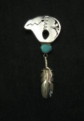 2-pc Silver Turquoise Bear Pin/Pendant by Navajo Nelson Morgan