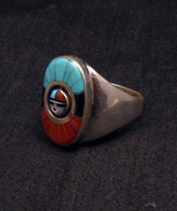 Image 2 of Don Dewa Zuni Sunface Inlay Spinner Ring sz11
