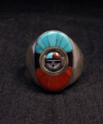 Don Dewa Zuni Sunface Inlay Spinner Ring sz11