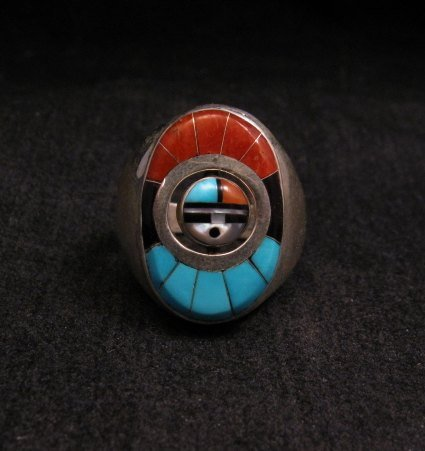 Image 0 of Native American Zuni Sunface Spinner Ring sz10, Donald Dewa