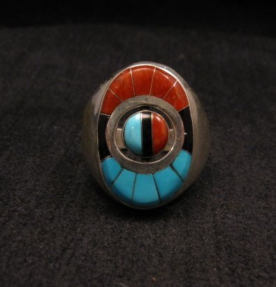 Image 1 of Native American Zuni Sunface Spinner Ring sz10, Donald Dewa
