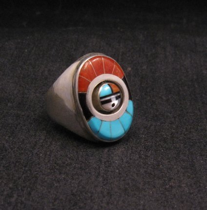 Image 2 of Native American Zuni Sunface Spinner Ring sz10, Donald Dewa