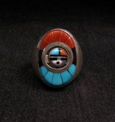 Native American Zuni Sunface Spinner Ring sz10, Donald Dewa
