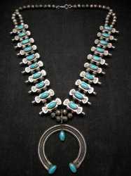 Navajo Old Pawn Box Bow Squash Blossom Necklace, Marcella James