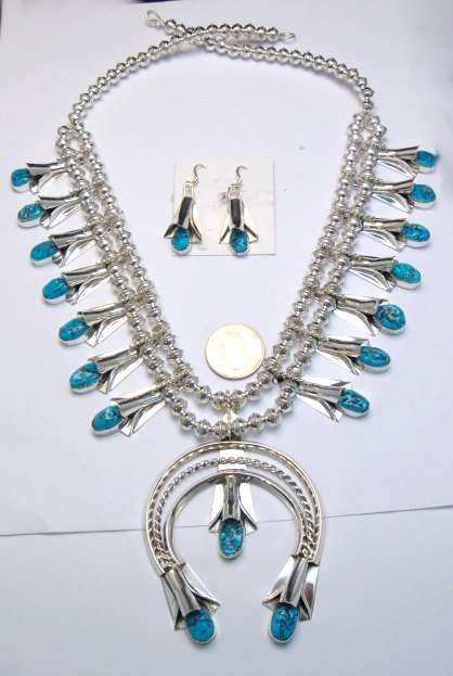 Image 0 of Navajo Native American Turquoise Squash Blossom Necklace Earrings, Louise Yazzie