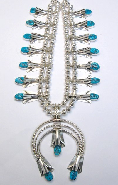 Image 3 of Navajo Native American Turquoise Squash Blossom Necklace Earrings, Louise Yazzie
