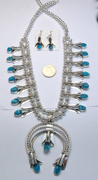 Image 6 of Navajo Native American Turquoise Squash Blossom Necklace Earrings, Louise Yazzie
