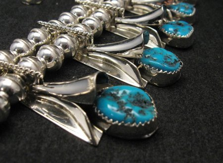 Image 6 of Navajo Native American Turquoise Squash Blossom Necklace Set, Louise Yazzie