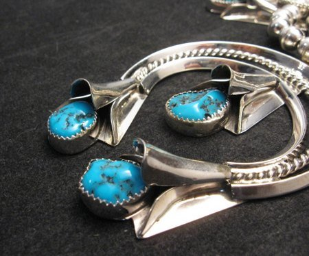 Image 7 of Navajo Native American Turquoise Squash Blossom Necklace Set, Louise Yazzie