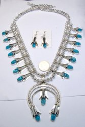 Navajo Native American Turquoise Squash Blossom Necklace Earrings, Louise Yazzie
