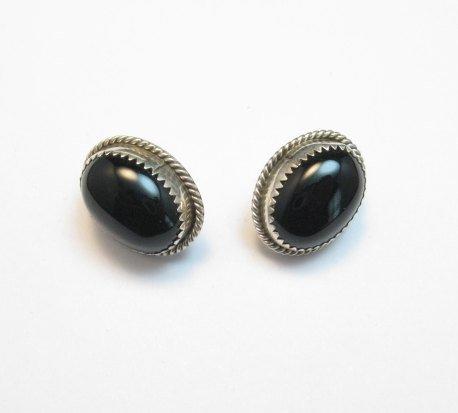 Image 0 of Vintage Native American Navajo Black Onyx Jet Earrings