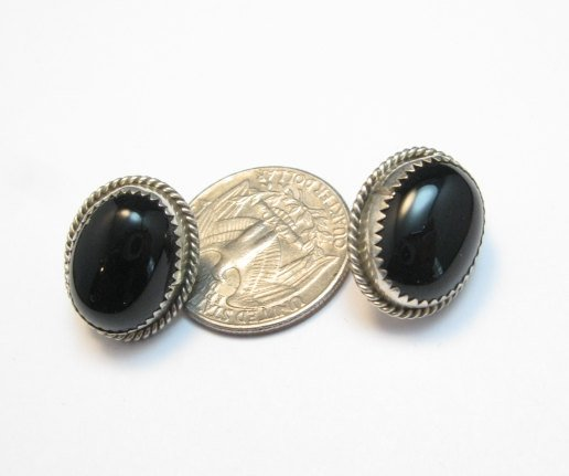 Image 1 of Vintage Native American Navajo Black Onyx Jet Earrings