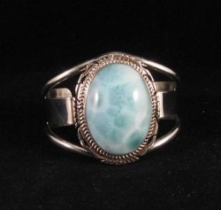Extra-Small Navajo Indian Larimar Sterling Silver Bracelet, Elouise Kee