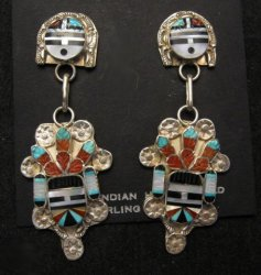 Eldred Martinez ~ Zuni ~ Inlaid Sunface Kachina Silver Earrings