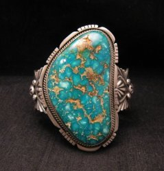 A++ Navajo Native American Turquoise Cuff Bracelet, Virgil Begay