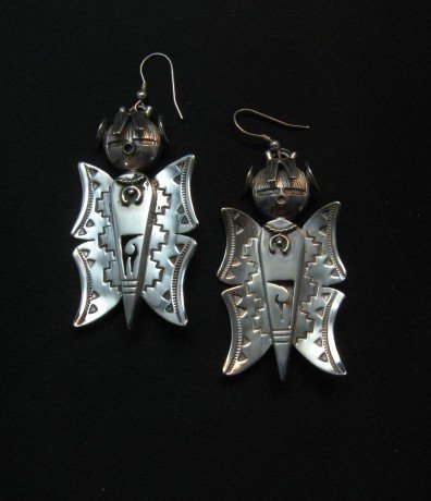 Image 1 of Native American Navajo Butterfly Maiden Earrings, Nelson Morgan