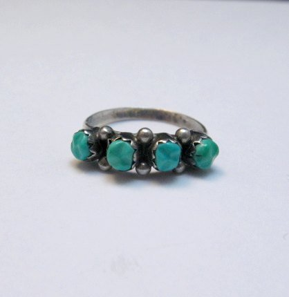 Image 0 of Vintage Native American Turquoise Row Ring sz5-1/2