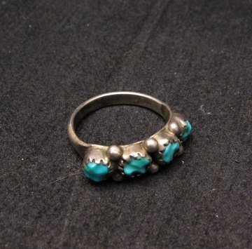 Image 3 of Vintage Native American Turquoise Row Ring sz5-1/2