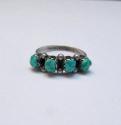 Vintage Native American Turquoise Row Ring sz5-1/2