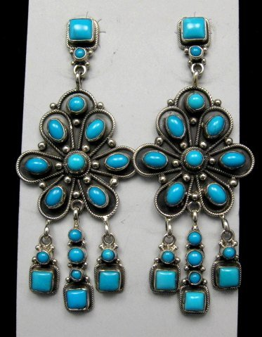Image 0 of A+++ Navajo ~ Eleanor Largo ~ Turquoise Silver Dangle Earrings
