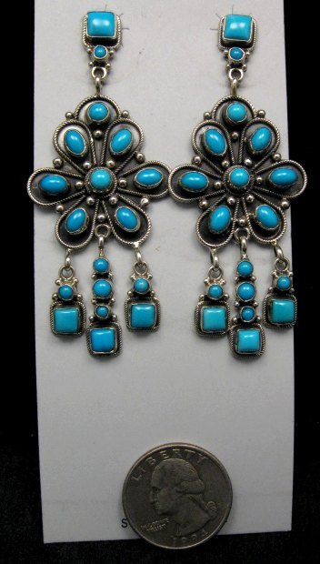 Image 1 of A+++ Navajo ~ Eleanor Largo ~ Turquoise Silver Dangle Earrings