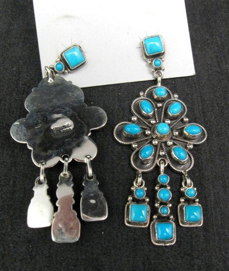 Image 2 of A+++ Navajo ~ Eleanor Largo ~ Turquoise Silver Dangle Earrings