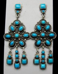 A+++ Navajo ~ Eleanor Largo ~ Turquoise Silver Dangle Earrings
