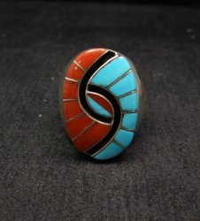 Amy Quandelacy Zuni Turquoise & Coral Hummingbird Ring Sz11