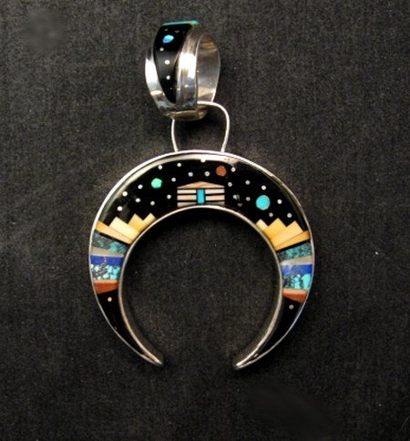 Reversible navajo inlay hogan night sky naja pendant merle house aloadofball Gallery