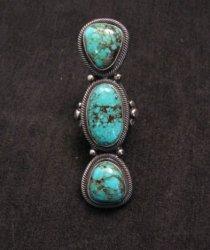A+ Gloria Begay Navajo 3-stone Skyhorse Turquoise Silver Ring sz6