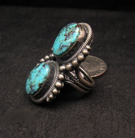 Image 1 of Gloria Begay ~ Navajo ~ Skyhorse Turquoise Sterling Silver Ring sz6-1/2