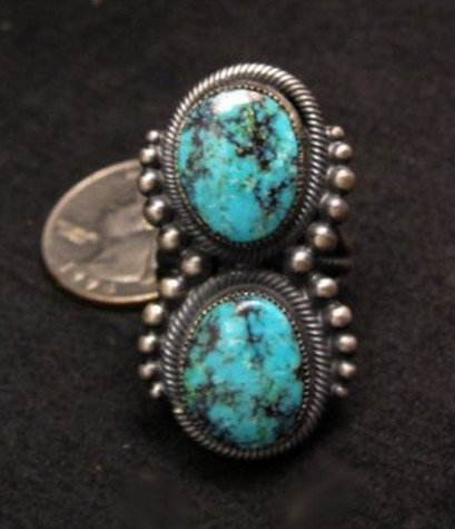 Image 0 of Gloria Begay ~ Navajo ~ Skyhorse Turquoise Sterling Silver Ring sz6-1/2