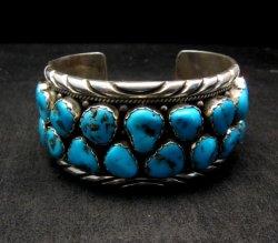 Large Native American Navajo Turquoise Silver Bracelet, Effie Spencer