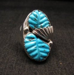 NATIVE AMERICAN ZUNI CARVED TURQUOISE SILVER RING, LOYOLITA OTHOLE, SZ12-1/2