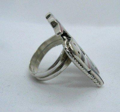 Image 3 of Zuni Multi Inlay Thunderbird Ring, Bobby Shack, sz8-1/2