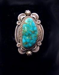 Native American Navajo Turquoise Sterling Silver Ring Sz7-1/2, Ella Linkin