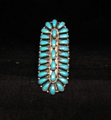 Image 0 of Native American Navajo Turquoise Sterling Silver Ring sz7-1/2, Zeta Begay